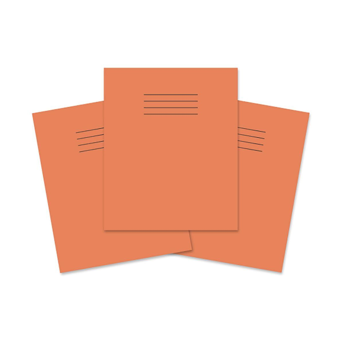 Rhino Exercise Book 8 inch x 6.5 Inch 48 Pages 8mm Ruled and Margin Pack of 100 Orange