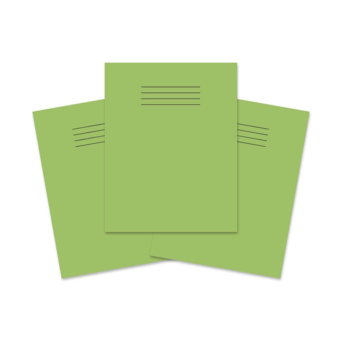 Exercise Book 9 inch x 7 Inch 80 Pages 8mm Ruled and Margin Pack of 100 Light Green