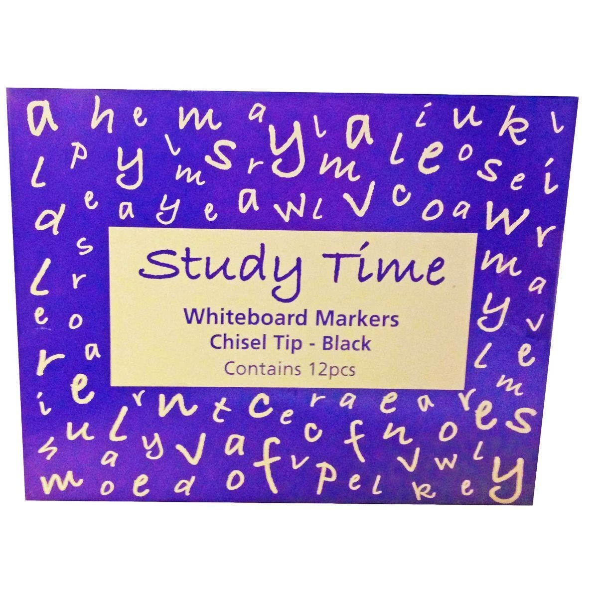 Study Time Dry Wipe Markers Chisel Tip Black Box of 12