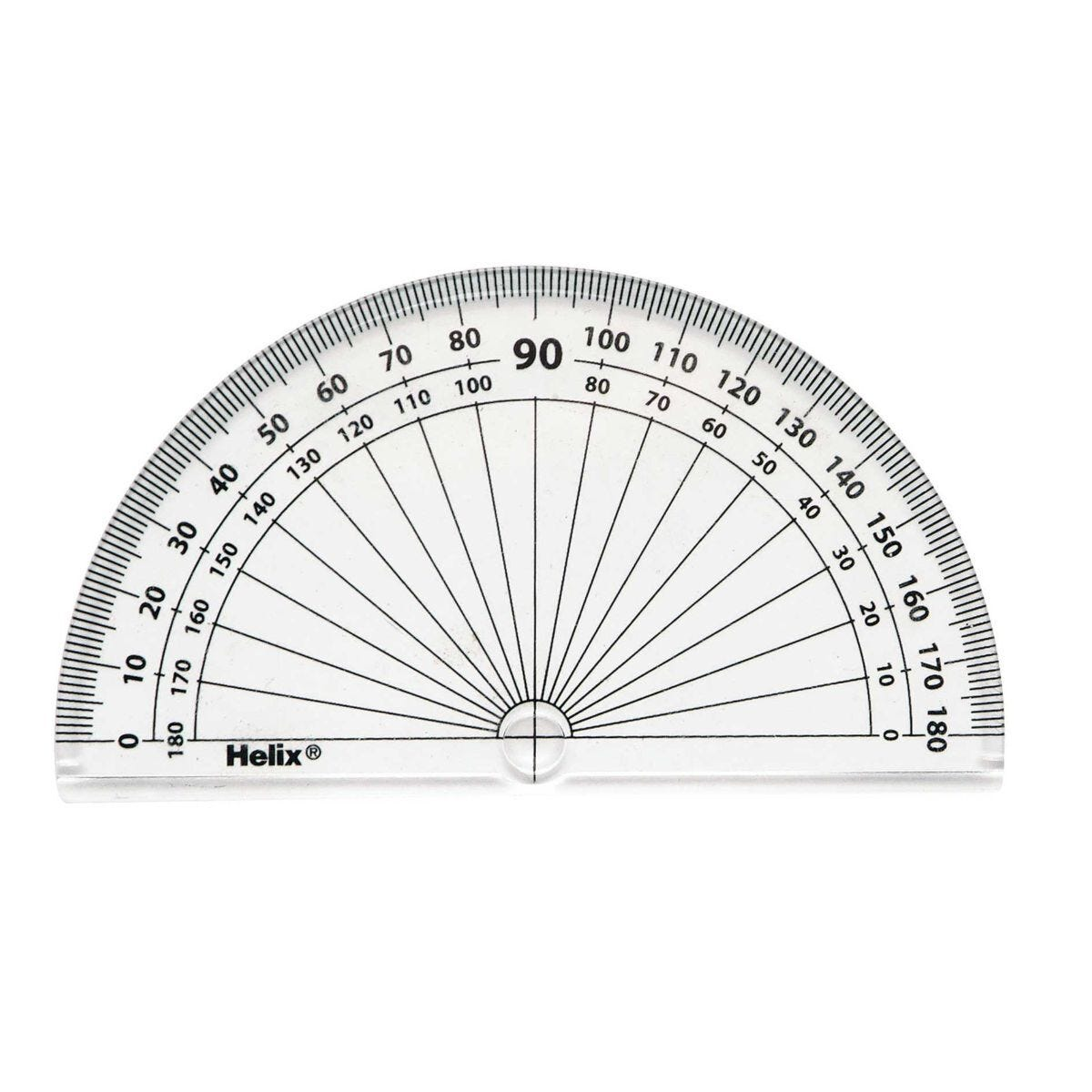 Helix 4 inch 10cm 180 degrees Protractor Pack of 50