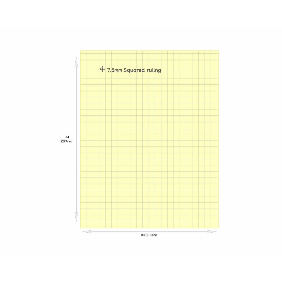 Tinted Exercise Books Squared A4 7.5mm Yellow