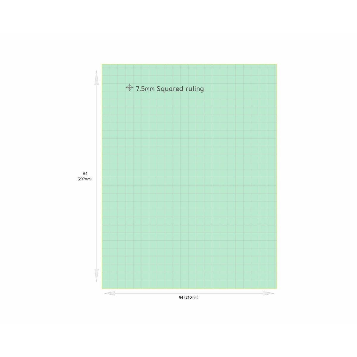 Tinted Exercise Books Squared A4 7.5mm Leaf Green