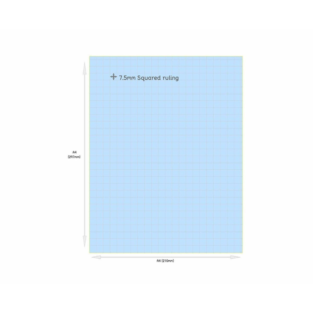 Tinted Exercise Books Squared A4 7.5mm Sky Blue