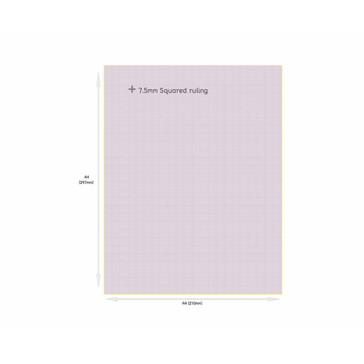 Tinted Exercise Books Squared A4 7.5mm Purple