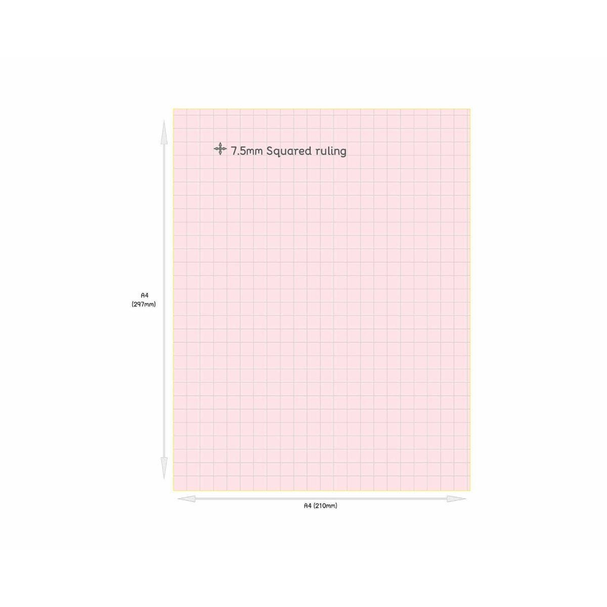 Tinted Exercise Books Squared A4 7.5mm Rose