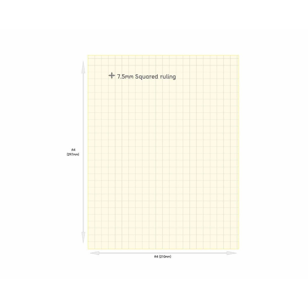 Tinted Exercise Books Squared A4 7.5mm Cream
