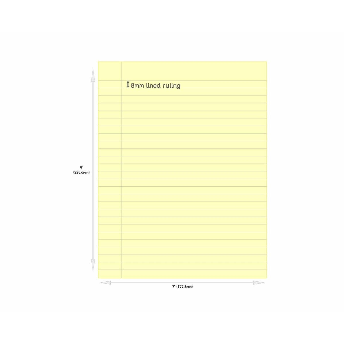 Tinted Exercise Book Standard 7x9 Lined 8mm Yellow