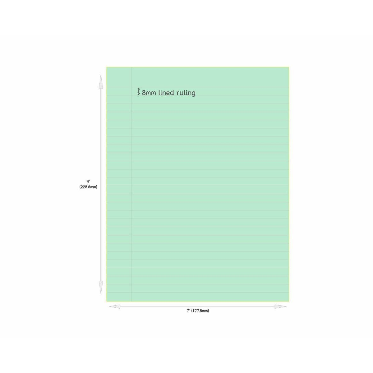 Tinted Exercise Book Standard 7x9 Lined 8mm Leaf Green