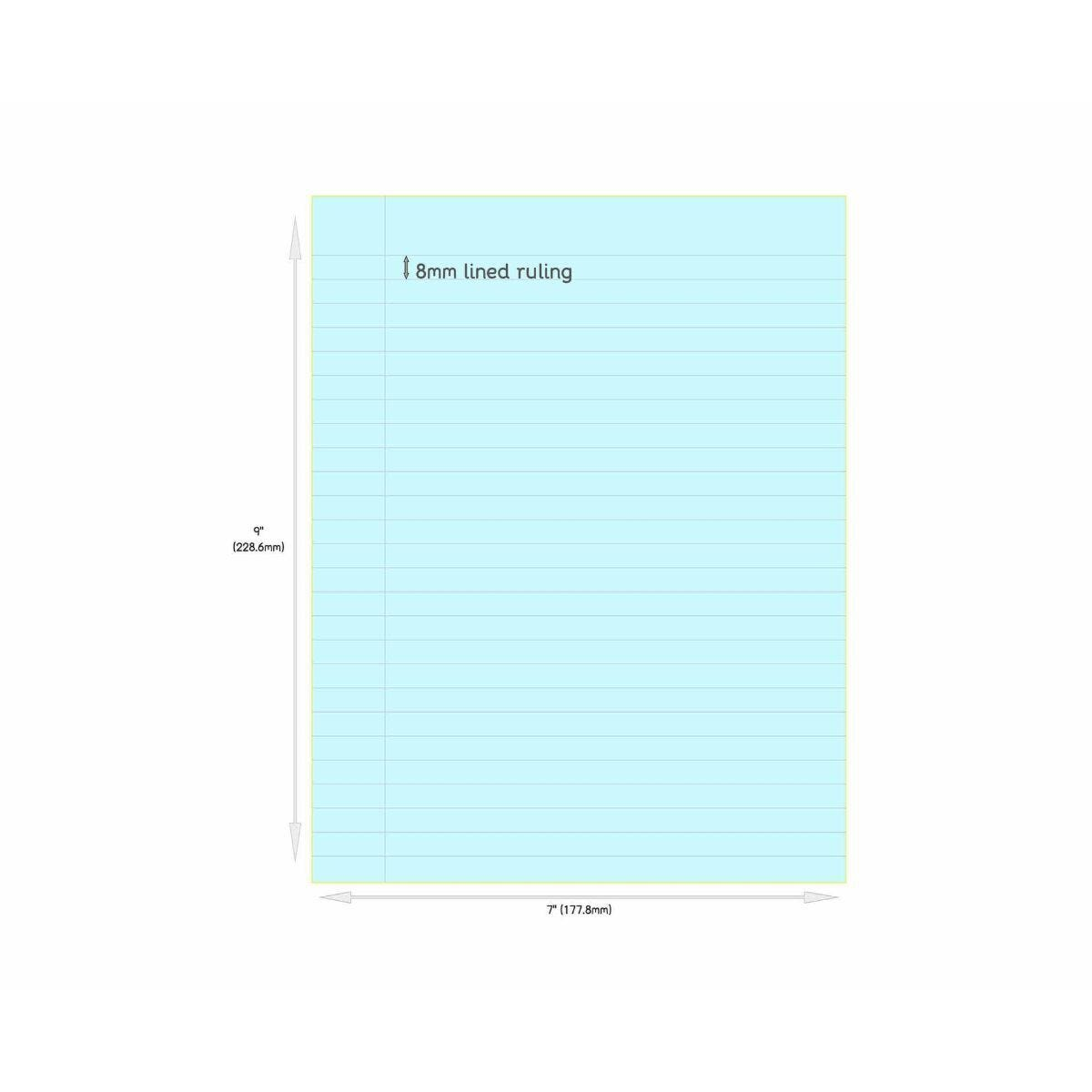 Tinted Exercise Book Standard 7x9 Lined 8mm Aqua