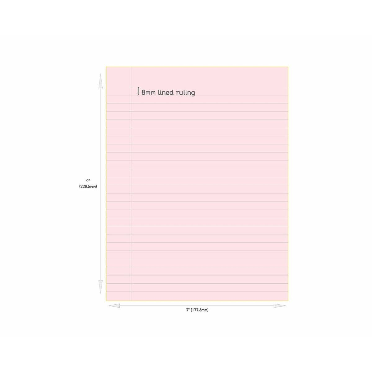 Tinted Exercise Book Standard 7x9 Lined 8mm Rose