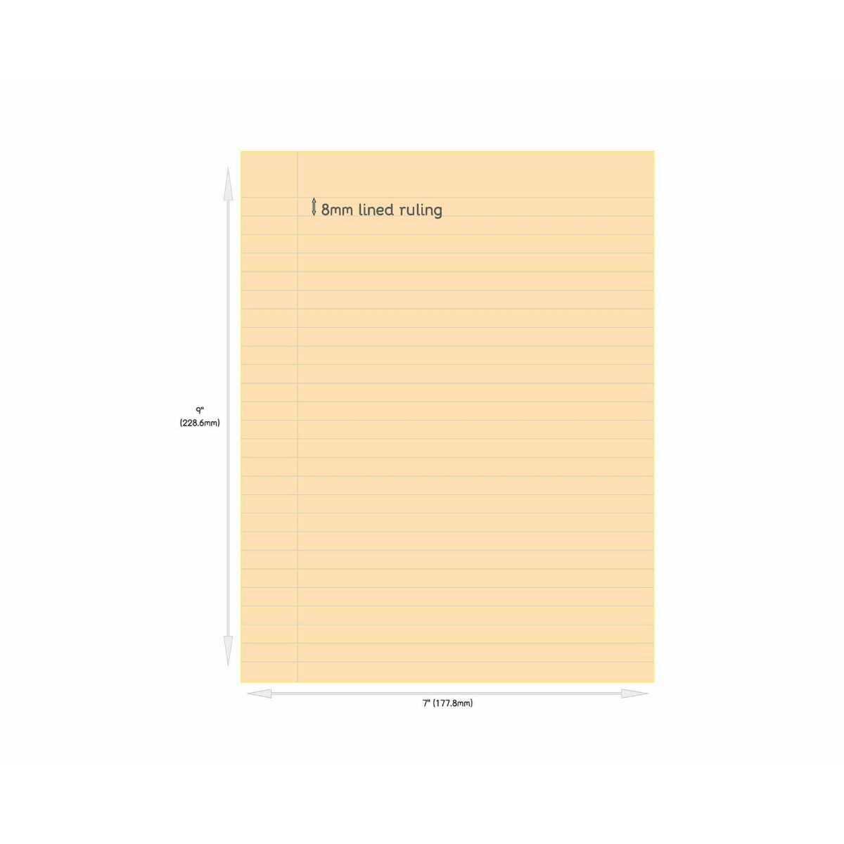 Tinted Exercise Book Standard 7x9 Lined 8mm Orange
