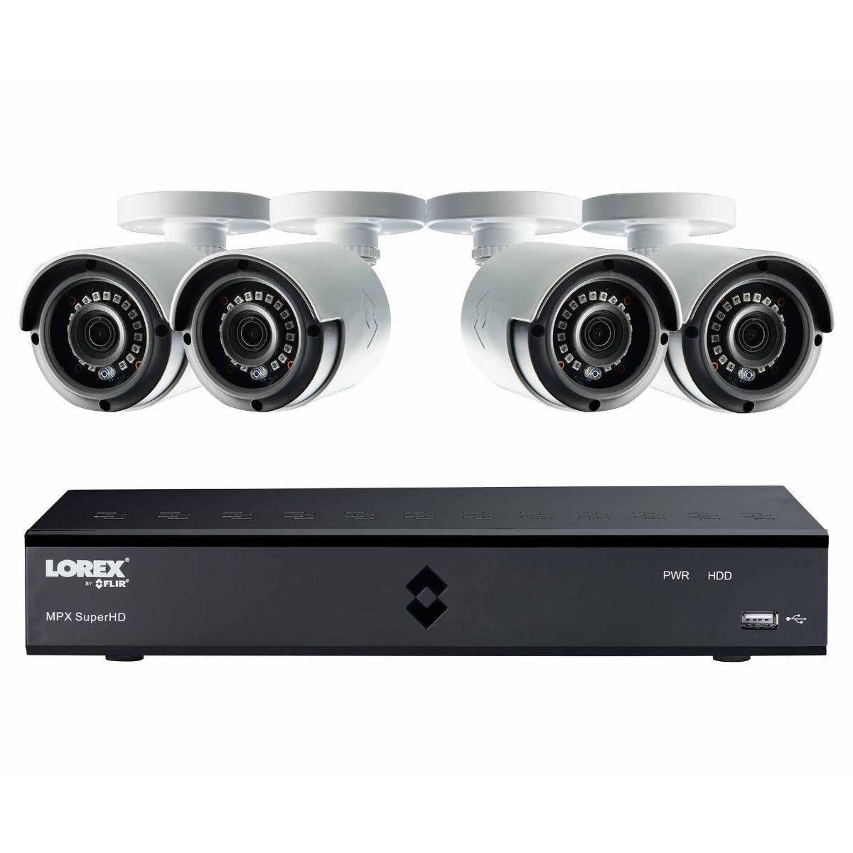 Lorex 8 Channel 2TB DVR with 4 x 4MP Super HD Cameras