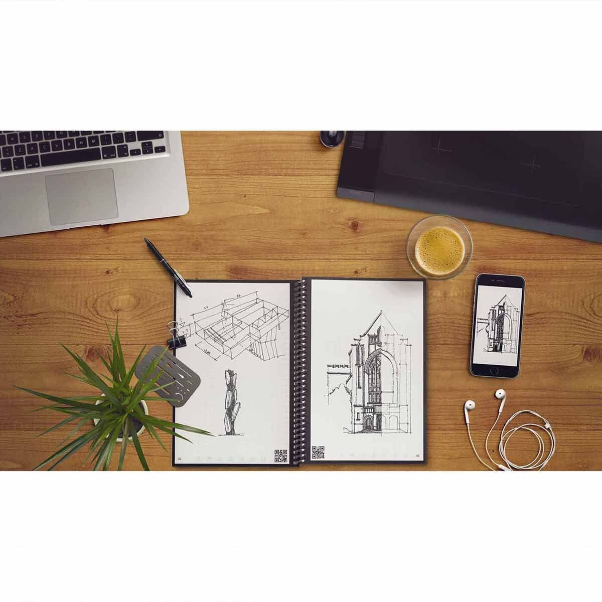 Rocketbook Everlast Smart Reusable Notebook A5 Executive with Pilot FriXion Pen and Wipe
