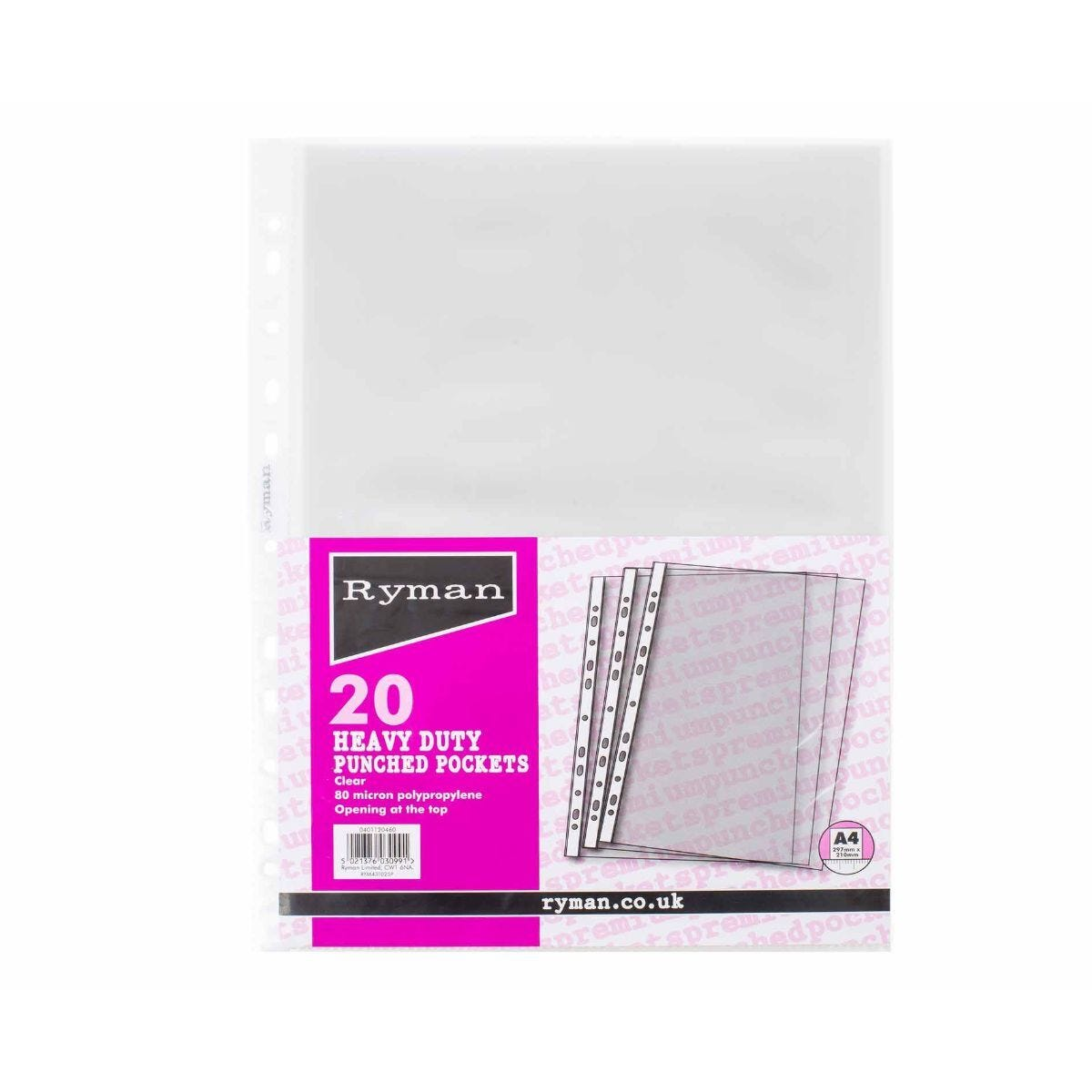 Ryman Premium Punched Pockets A4 80 Micron Pack of 20