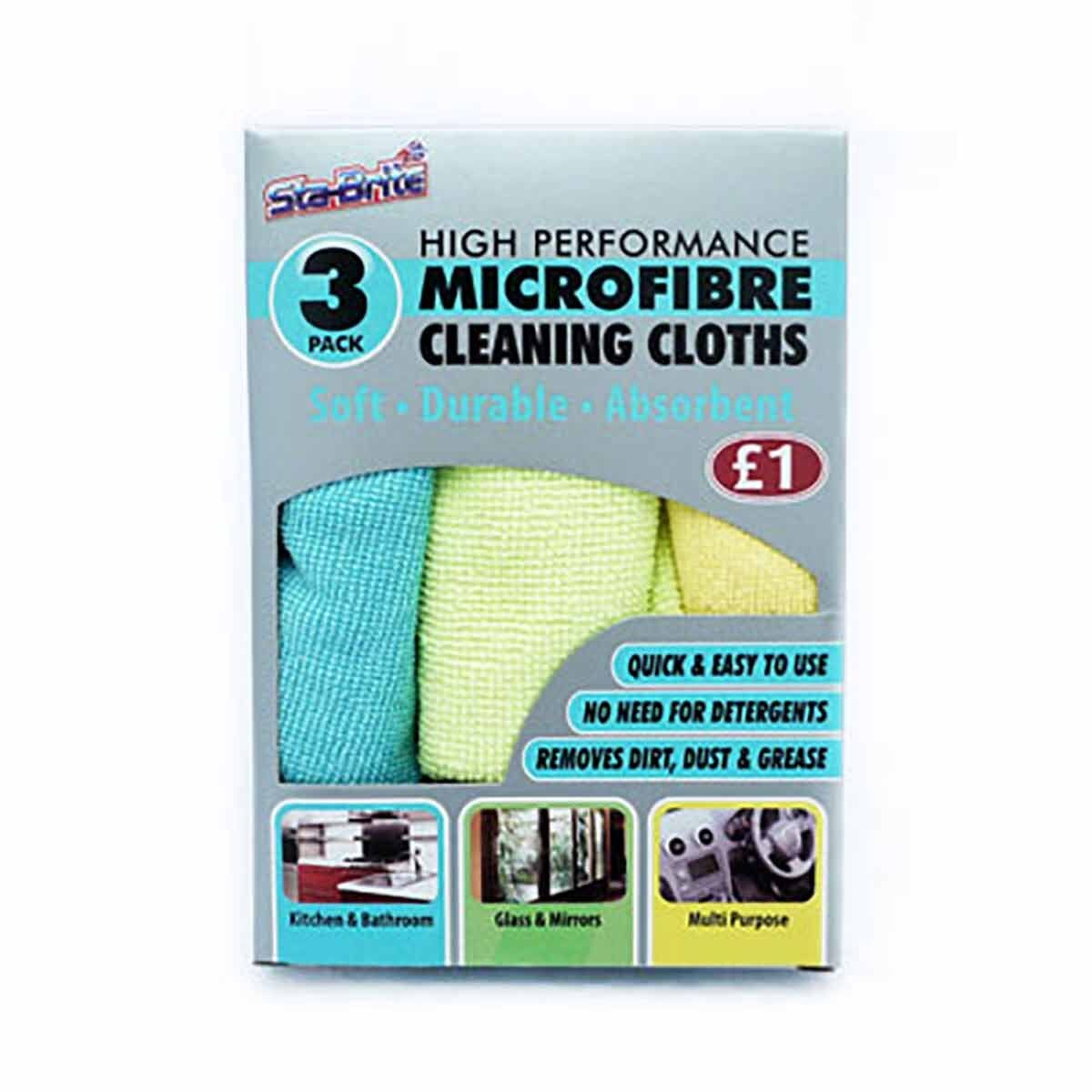 High Performance Microfibre Cloths Pack of 3