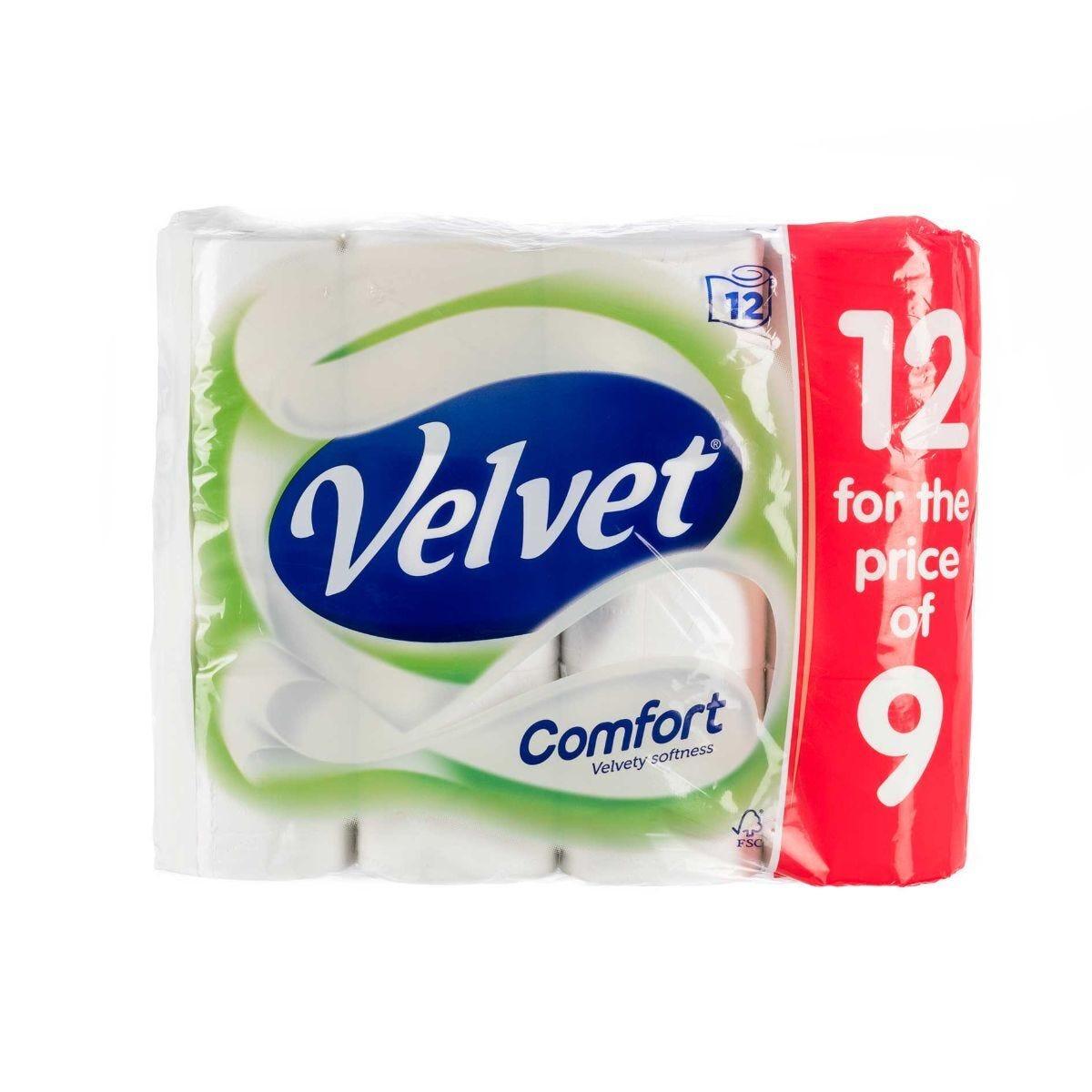 Velvet Toilet Rolls Pack of 12