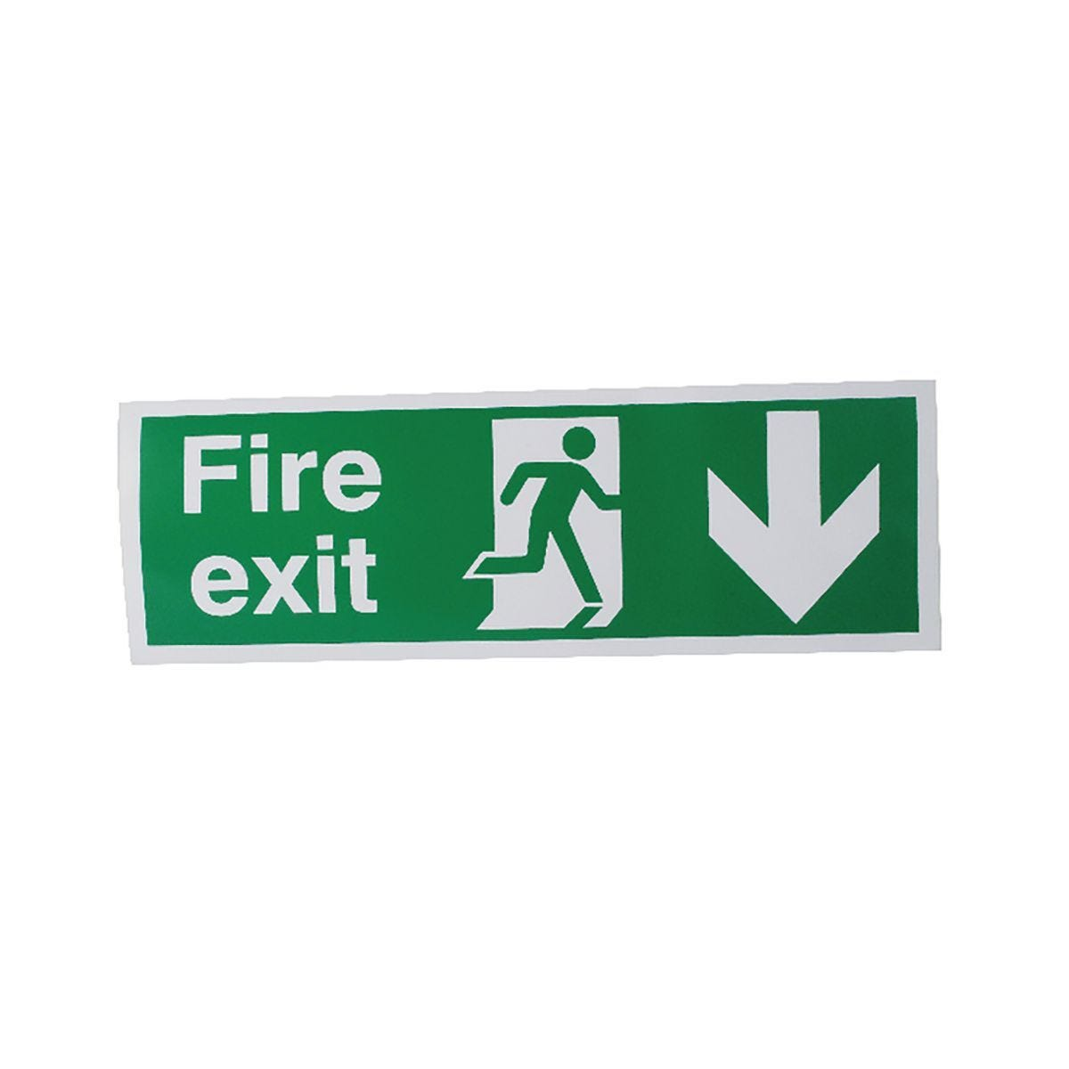 Safety Sign Fire Exit Running Man Arrow Down
