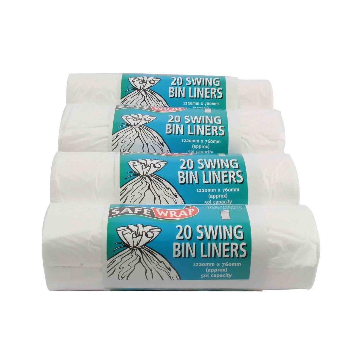 Safewrap Swing Bin Liners 50L Pack of 80
