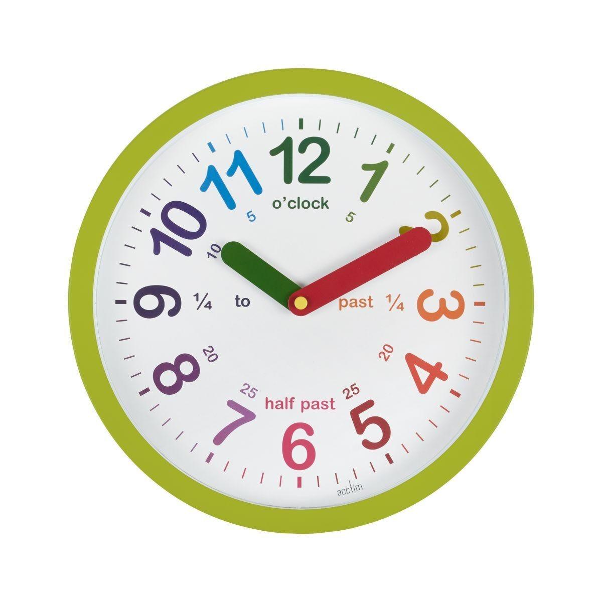 Acctim Lulu Time Teaching Wall Clock Green