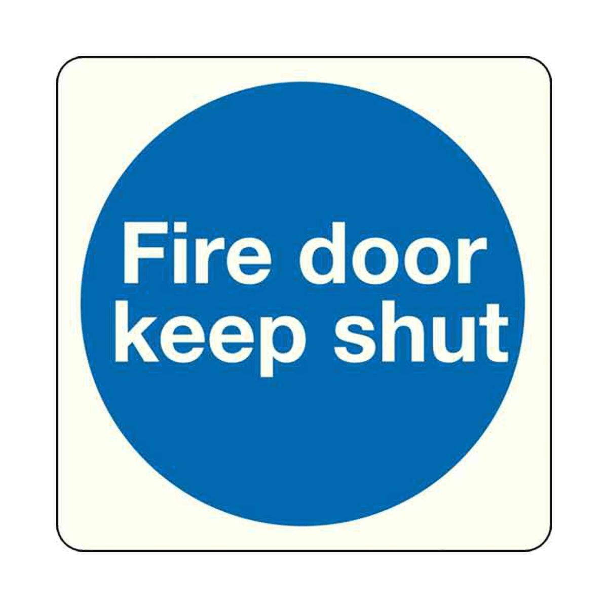 Safety Sign Fire Door Keep Shut 100x100mm Self-Adhesive Pack of 5
