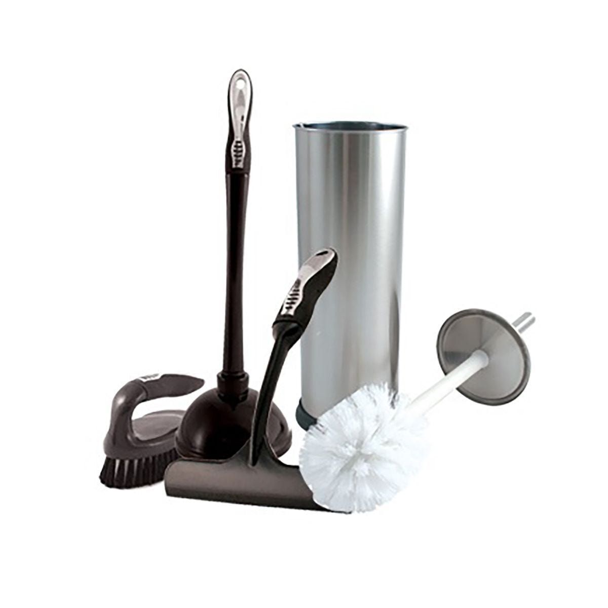 Charles Bentley 5 Piece Chrome Bathroom Essentials Cleaning Set