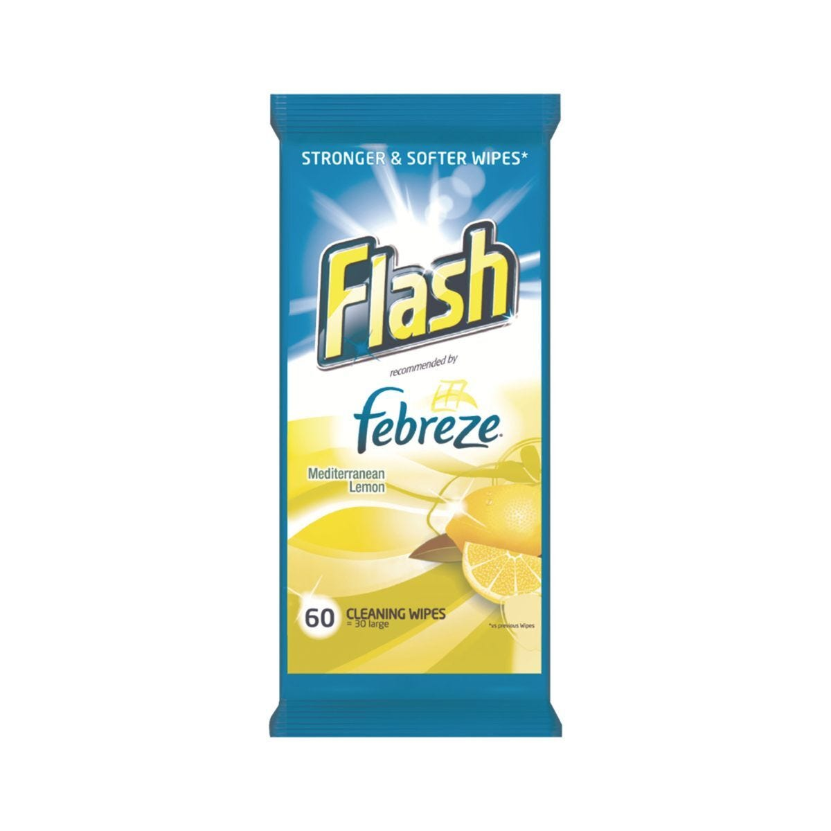 Flash Cleaning Wipes Lemon Pack of 60 Wipes