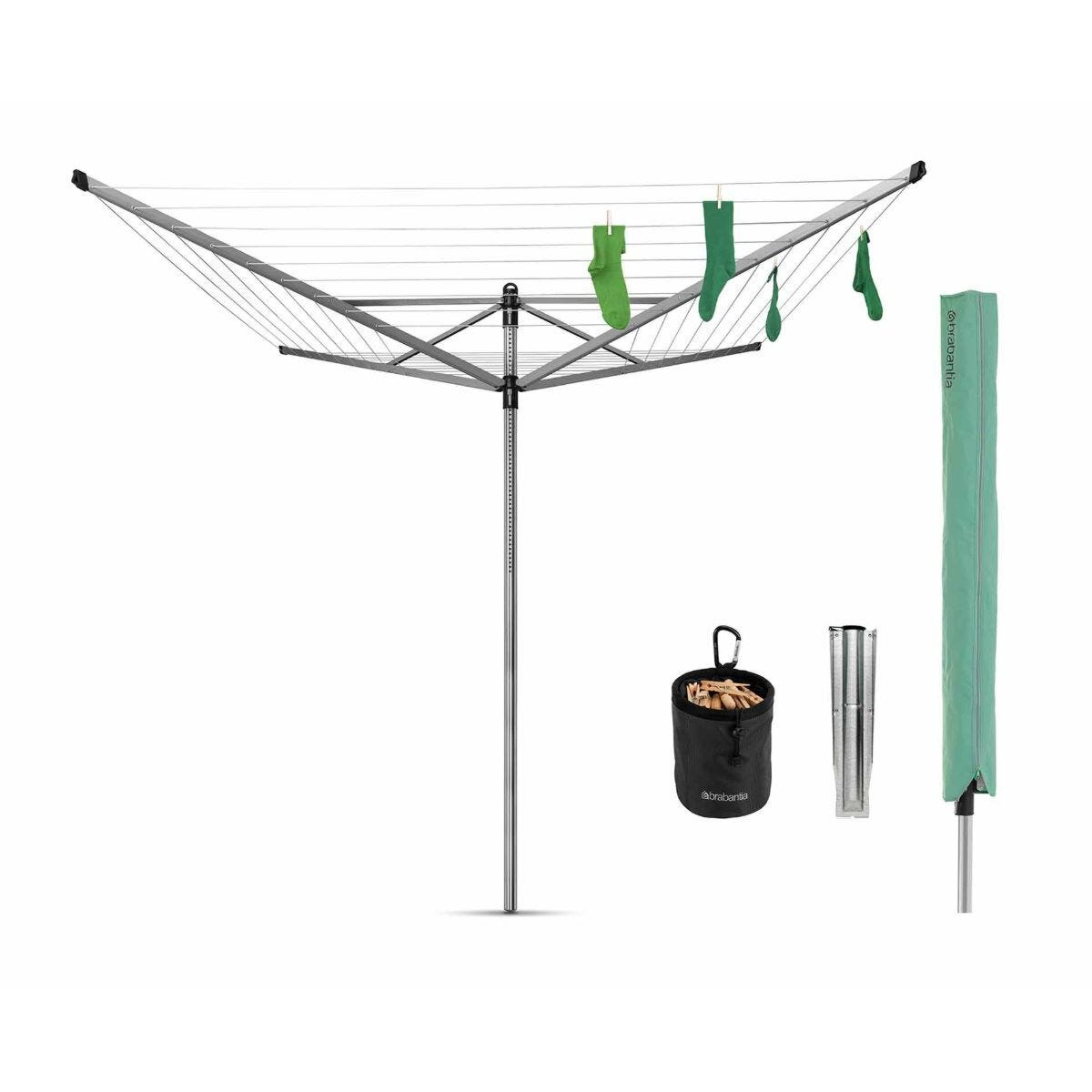 Brabantia Lift-O-Matic 50m Rotary Dryer plus Ground Spike and Accessories