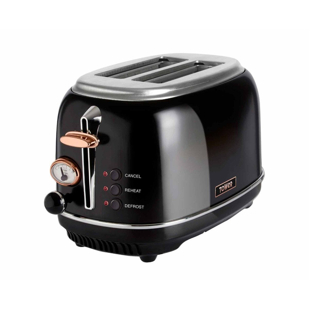 Tower 2 Slice Rose Gold Edition Stainless Steel Toaster Black