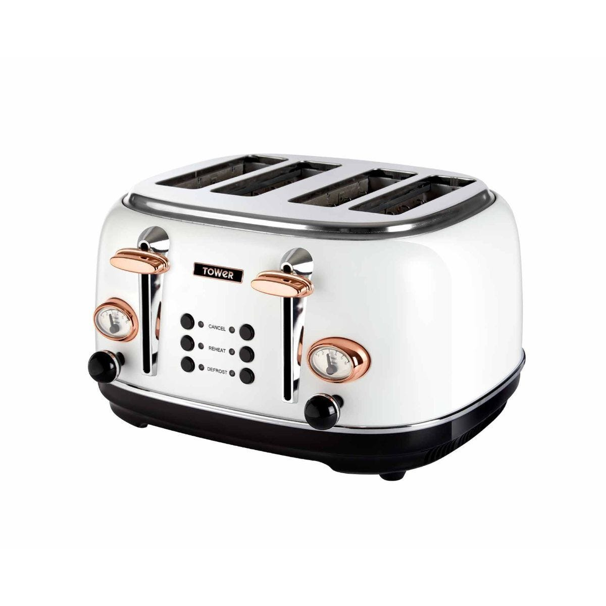 Tower 4 Slice Rose Gold Edition Stainless Steel Toaster White