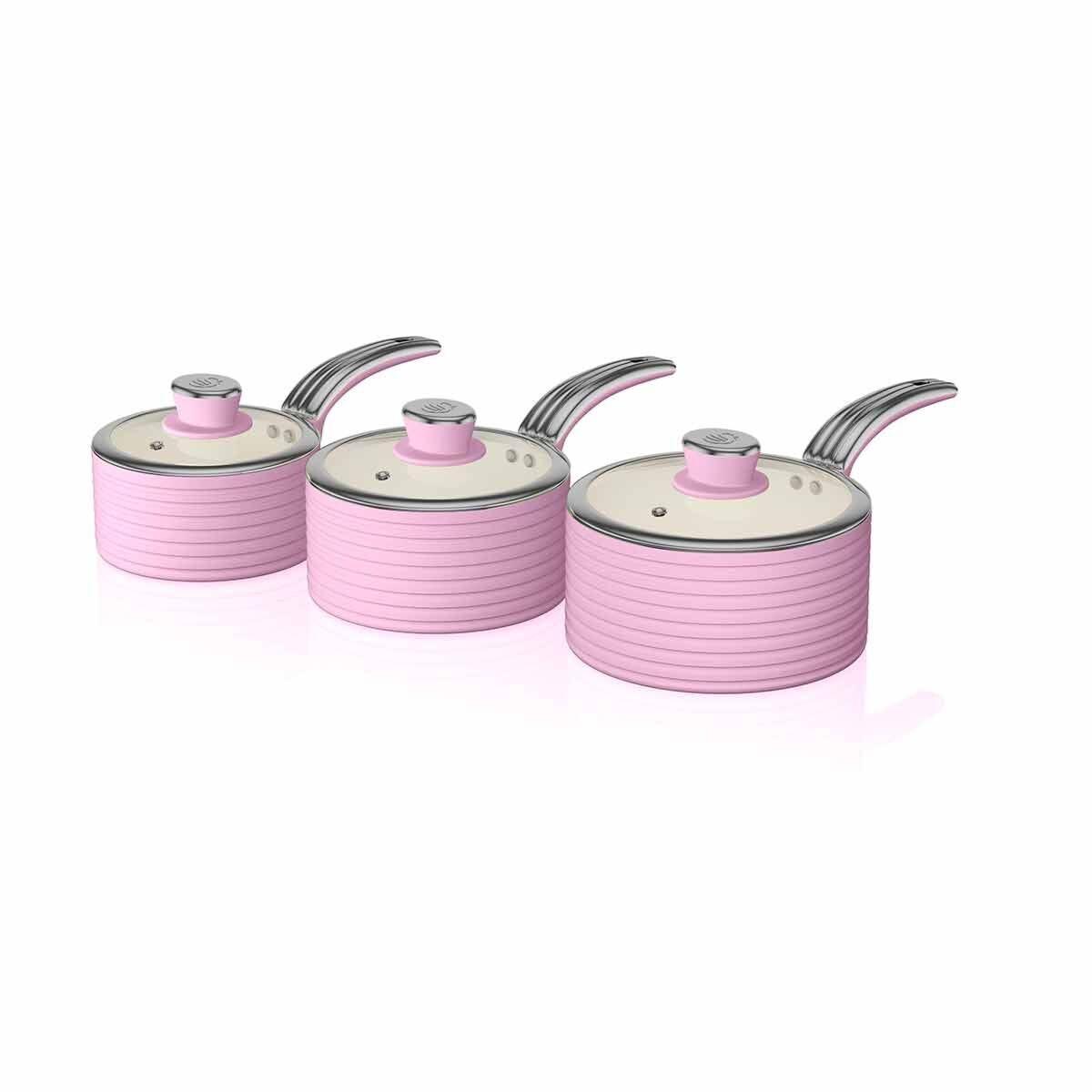 Swan Retro Saucepan Set of 3 Pink