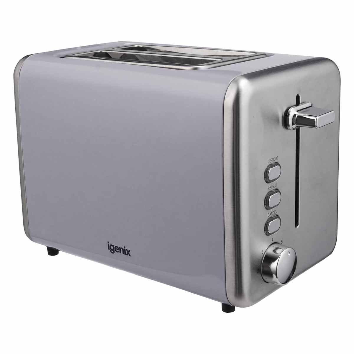 Igenix 2 Slice Toaster with Stainless Steel Grey