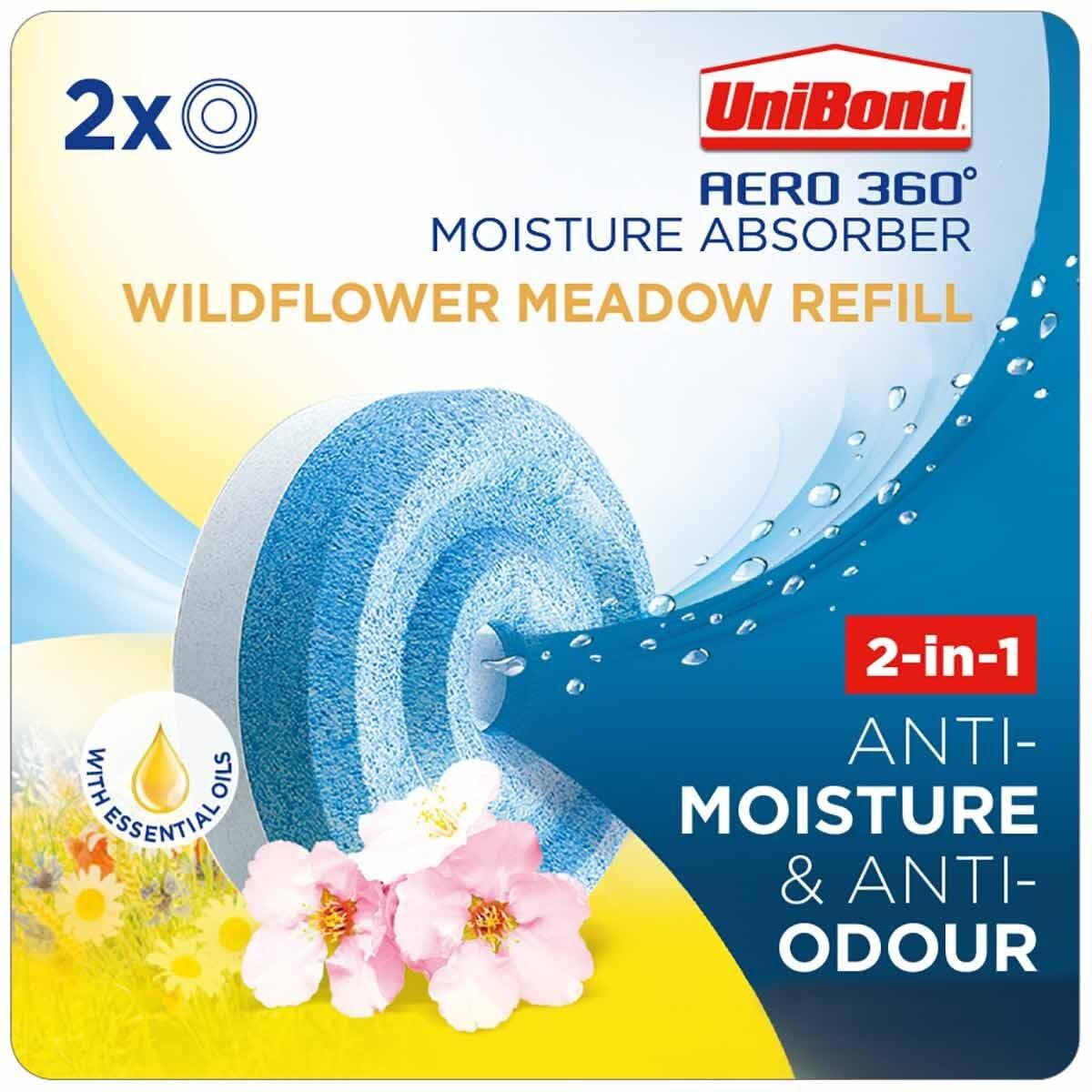 Unibond Aero 360 Moisture Absorber Wild Flower Meadow Refills Pack of 2