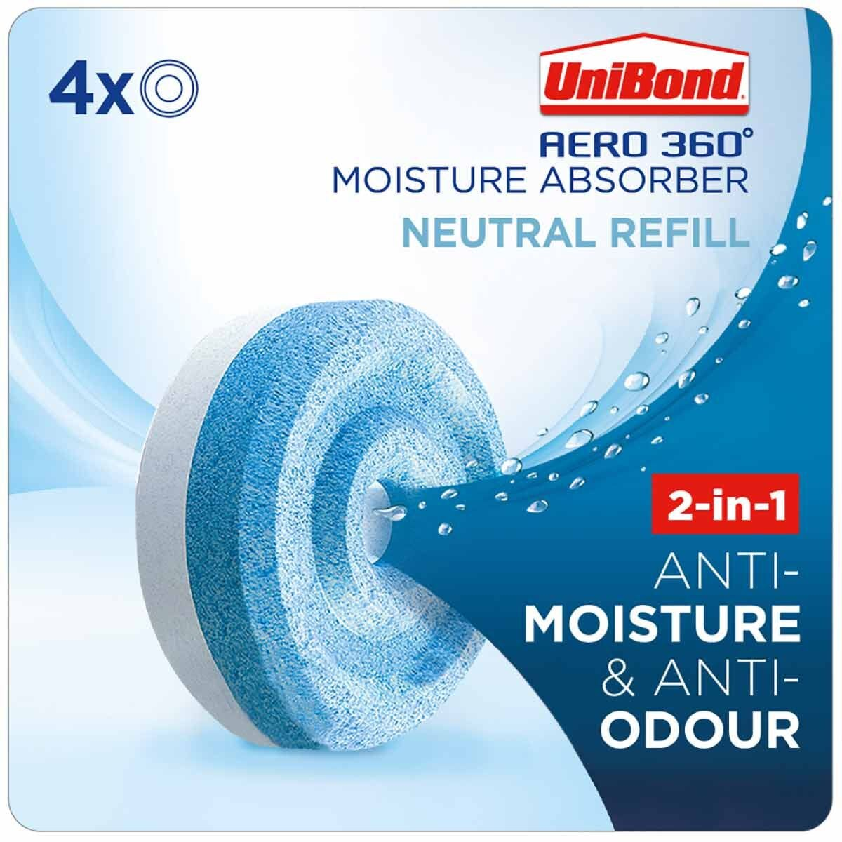 Unibond Aero 360 Moisture Absorber Neutral Refills Pack of 4