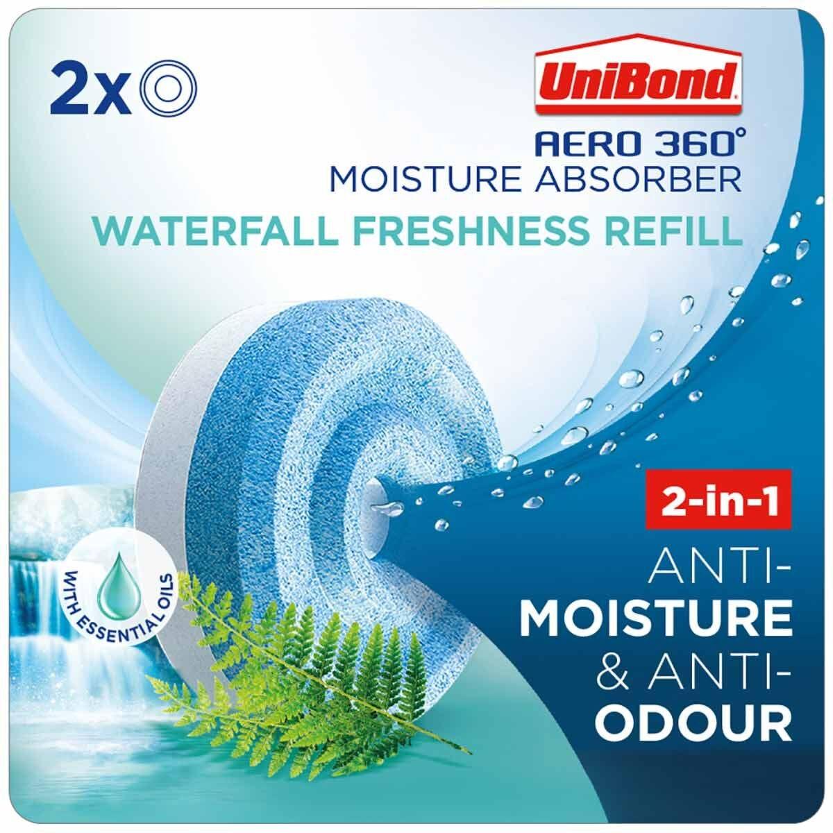 Unibond Aero 360 Moisture Absorber Waterfall Freshness Refills Pack of 2