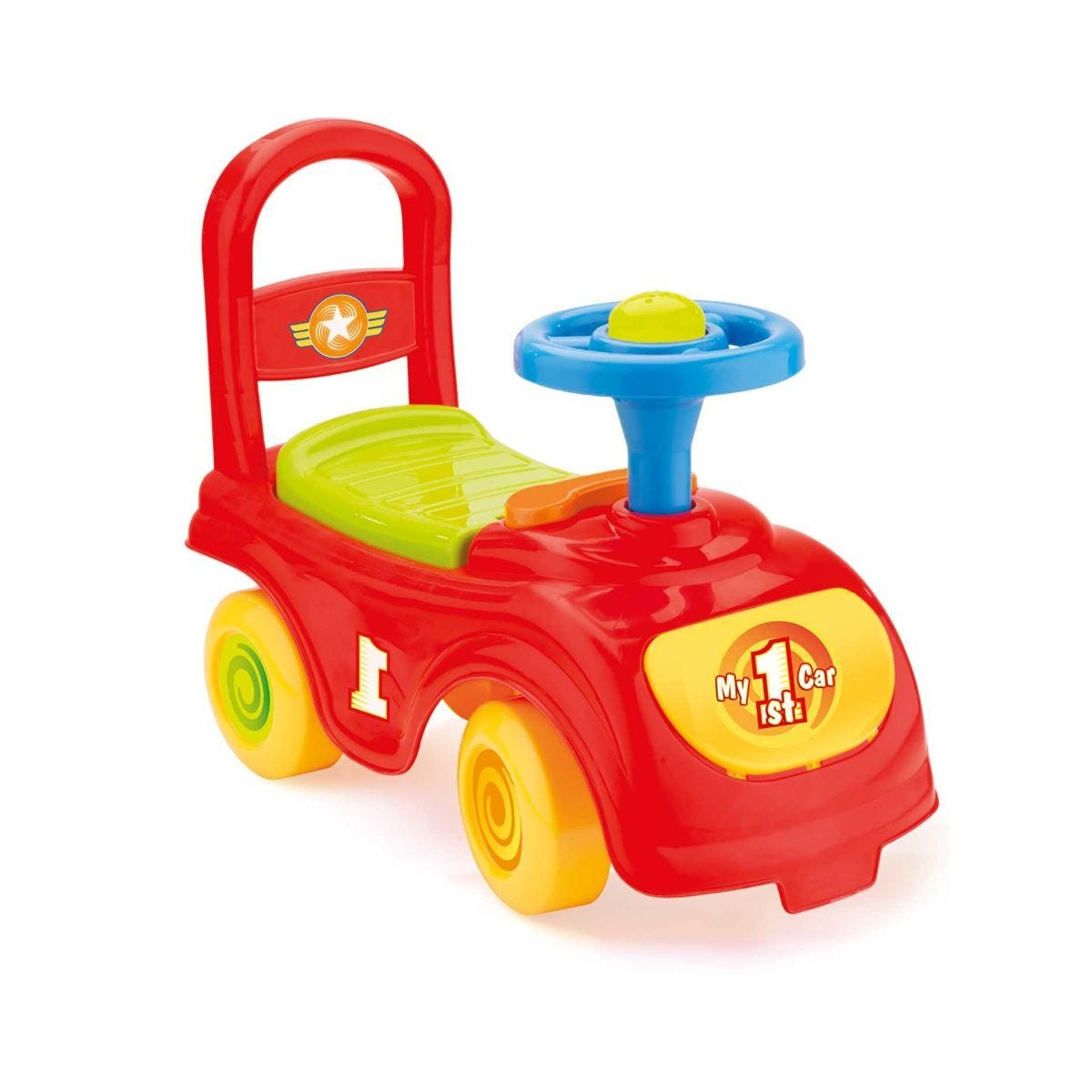 Charles Bentley Dolu Kids Push Along Sit n Ride Car with Under Seat Storage