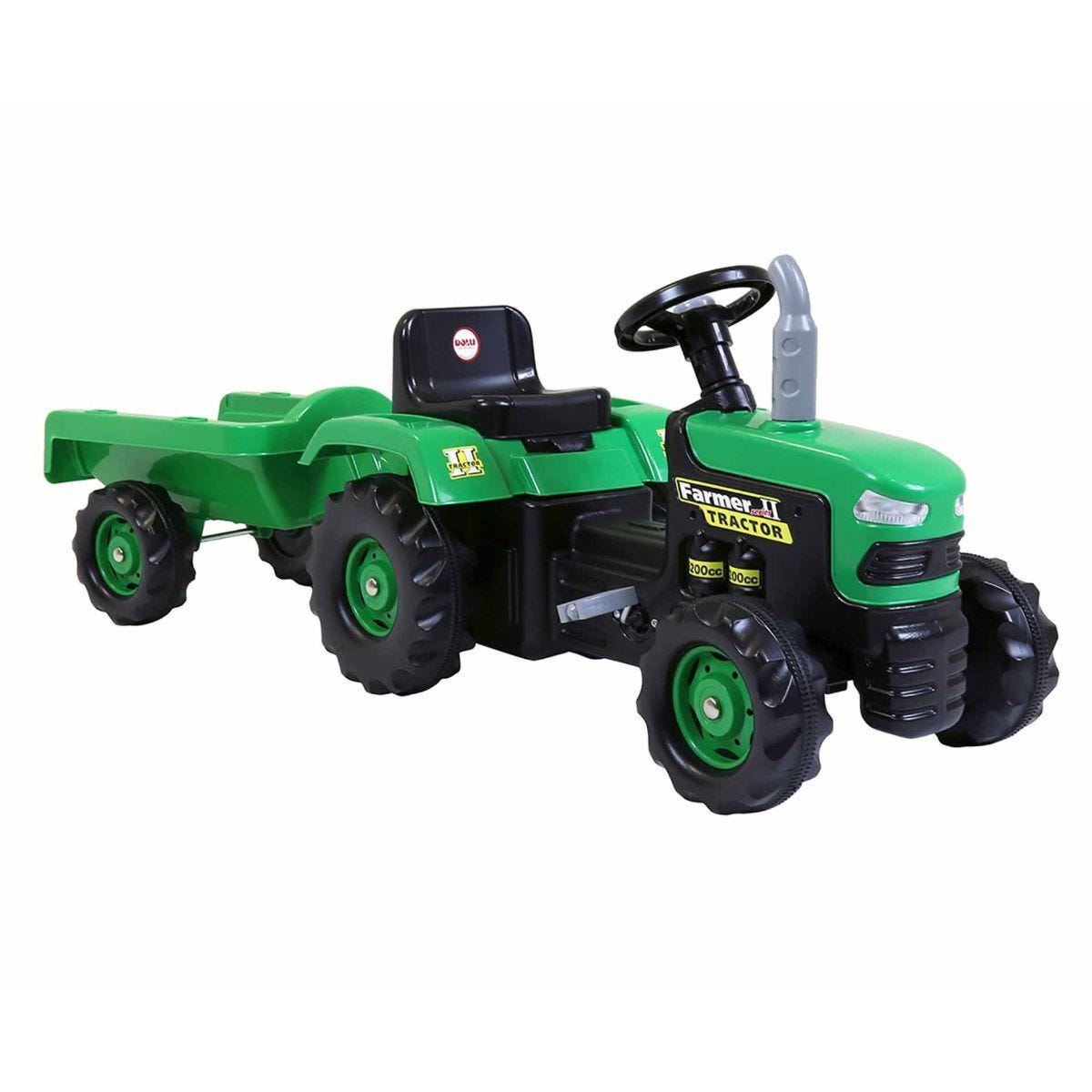 Charles Bentley Dolu Kids Ride On Green Tractor With Trailer