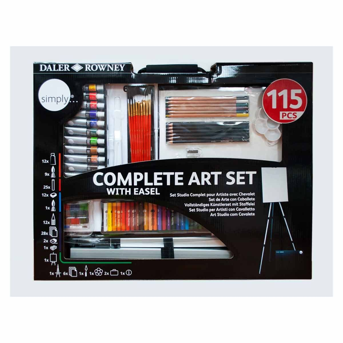 Daler Rowney Simply 115 Piece Art Set with Easel