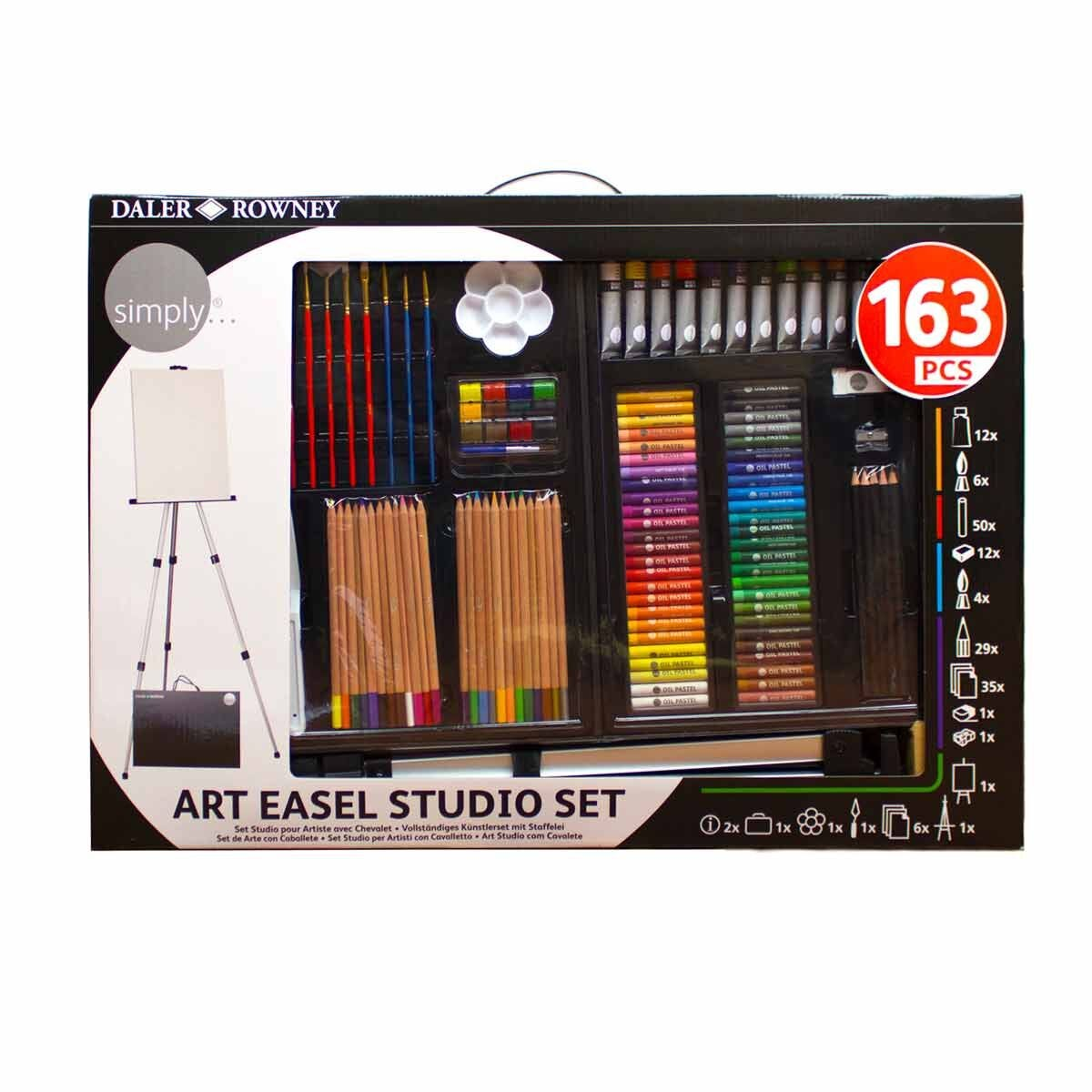 Daler Rowney Simply 163 Piece Art Studio Set with Easel