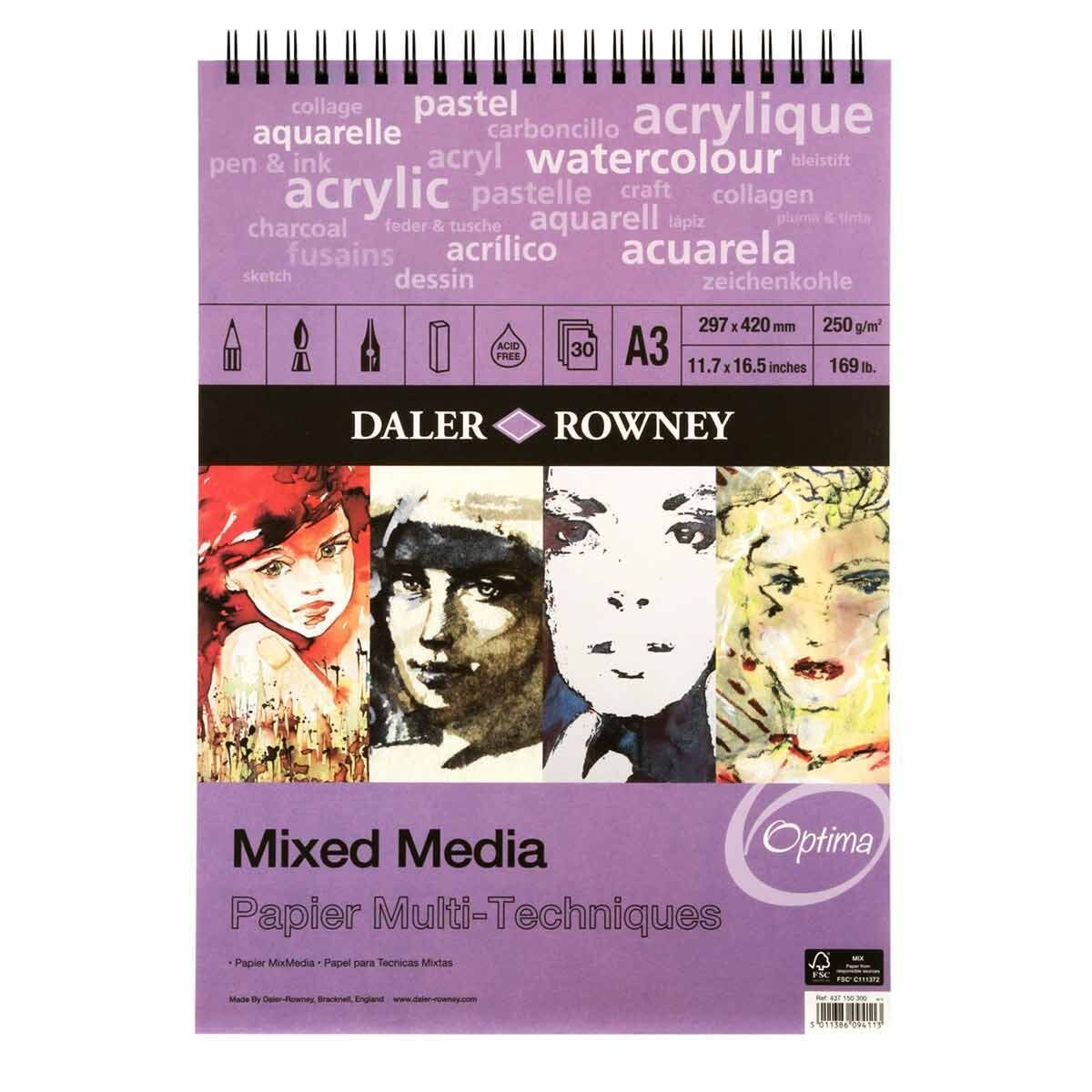 Daler Rowney Mixed Media Spiral Pad A3 30 Sheets White