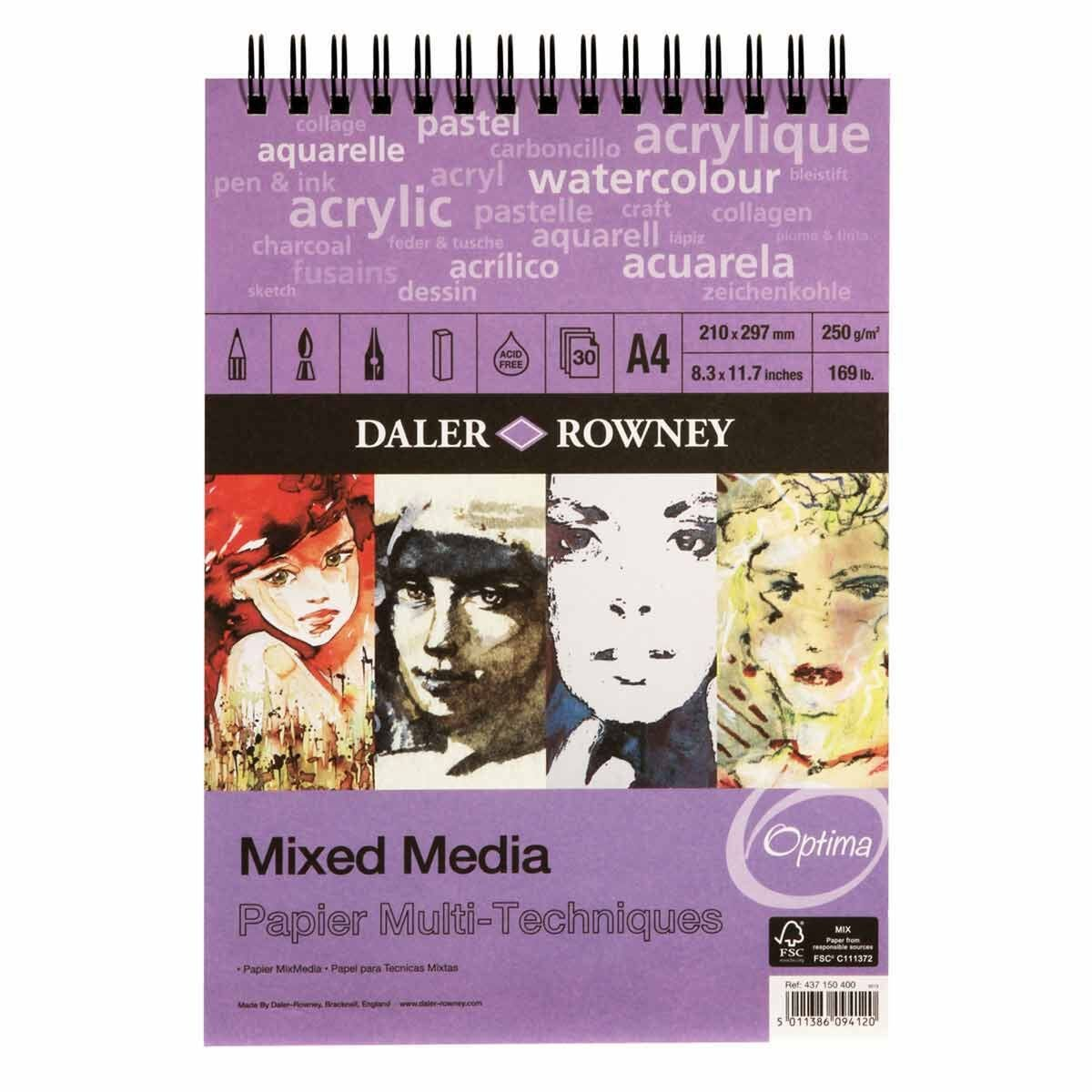 Daler Rowney Mixed Media Spiral Pad 30 Sheets White