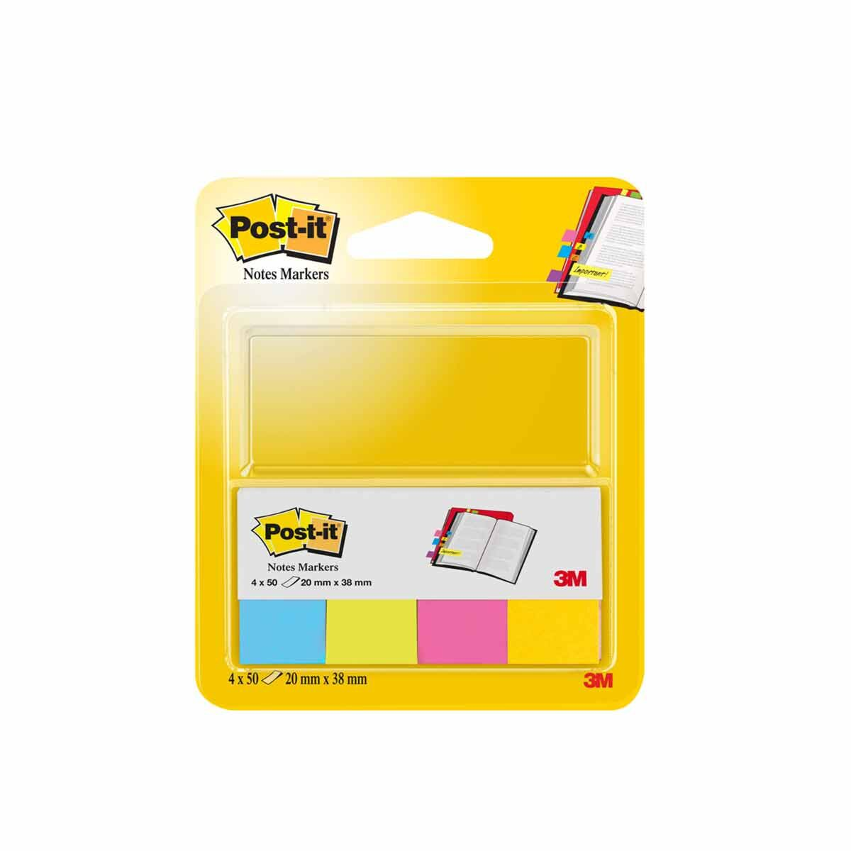 3M Post It Notes Self Markers 20x38mm Pack of 4