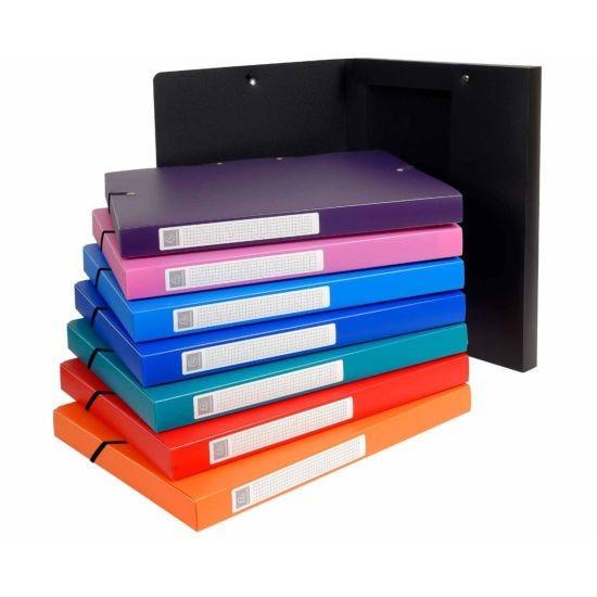 Exacompta Uni Elastic Box File A4 Pack of 8 Assorted