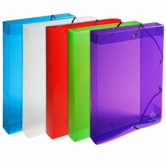 Exacompta Crystal Elasticated Box File A4 40mm Pack of 8 Assorted