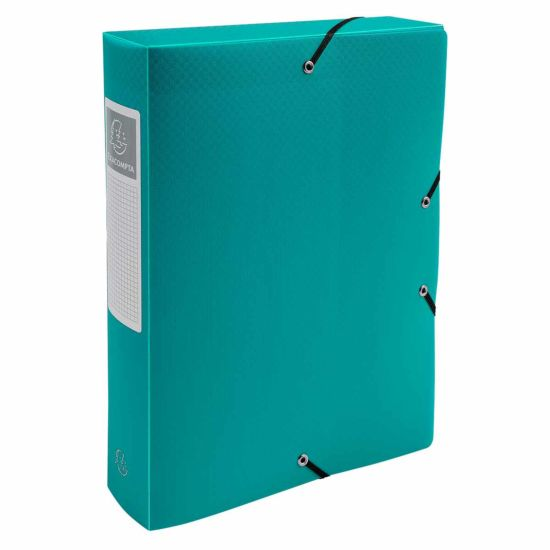 Exacompta Elasticated Opaque Polypropylene Box File A4 60mm Pack of 8 Green