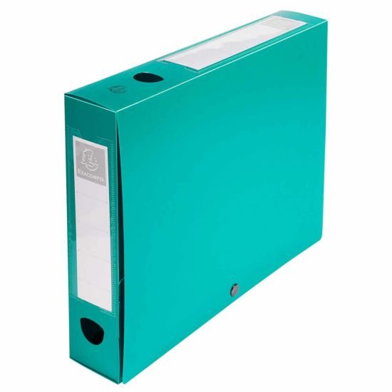 Exacompta Press Stud Opaque Filing Box 60mm Spine A4 Pack of 10 Green