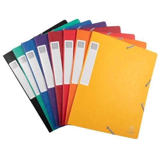 Exacompta Elasticated Box File Pressboard A4 40mm Pack of 10 Assorted