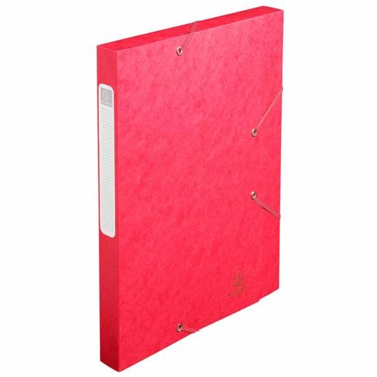 Exacompta Elasticated Box File Pressboard A4 25mm Pack of 25 Red