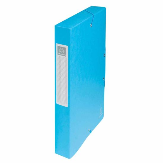 Exacompta Elasticated Box File Pressboard A4 40mm Pack of 8 Turquoise