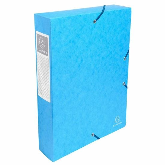 Exacompta Elasticated Box File Pressboard A4 60mm Pack of 8 Turquoise