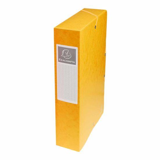 Exacompta Elasticated Box File Pressboard A4 60mm Pack of 8 Yellow